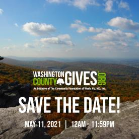 Save the date image for Washington County Gives with the Cumberland Valley in the background